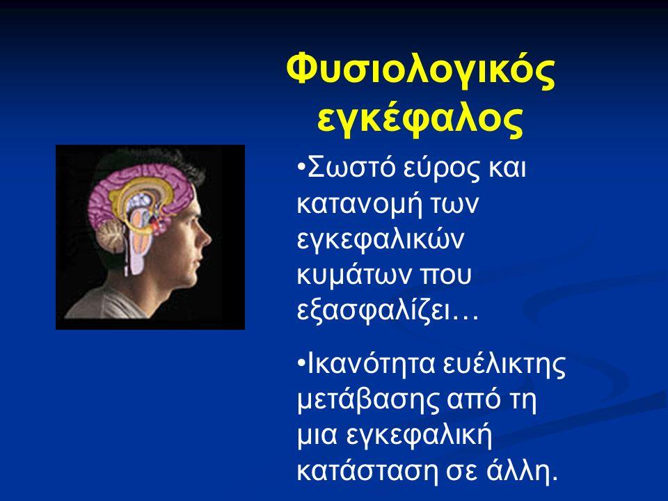 Φυσιολογικός εγκέφαλος Σωστό εύρος και κατανομή των εγκεφαλικών κυμάτων που εξασφαλίζει… Ικανότητα ευέλικτης μετάβασης από τη μια εγκεφαλική κατάσταση σε άλλη.