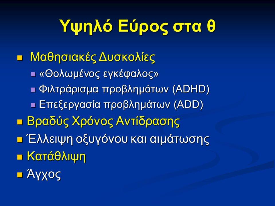 Υψηλό Εύρος στα θ Μαθησιακές Δυσκολίες Μαθησιακές Δυσκολίες «Θολωμένος εγκέφαλος» «Θολωμένος εγκέφαλος» Φιλτράρισμα προβλημάτων (ADHD) Φιλτράρισμα προβλημάτων (ADHD) Επεξεργασία προβλημάτων (ADD) Επεξεργασία προβλημάτων (ADD) Βραδύς Χρόνος Αντίδρασης Βραδύς Χρόνος Αντίδρασης Έλλειψη οξυγόνου και αιμάτωσης Έλλειψη οξυγόνου και αιμάτωσης Κατάθλιψη Κατάθλιψη Άγχος Άγχος