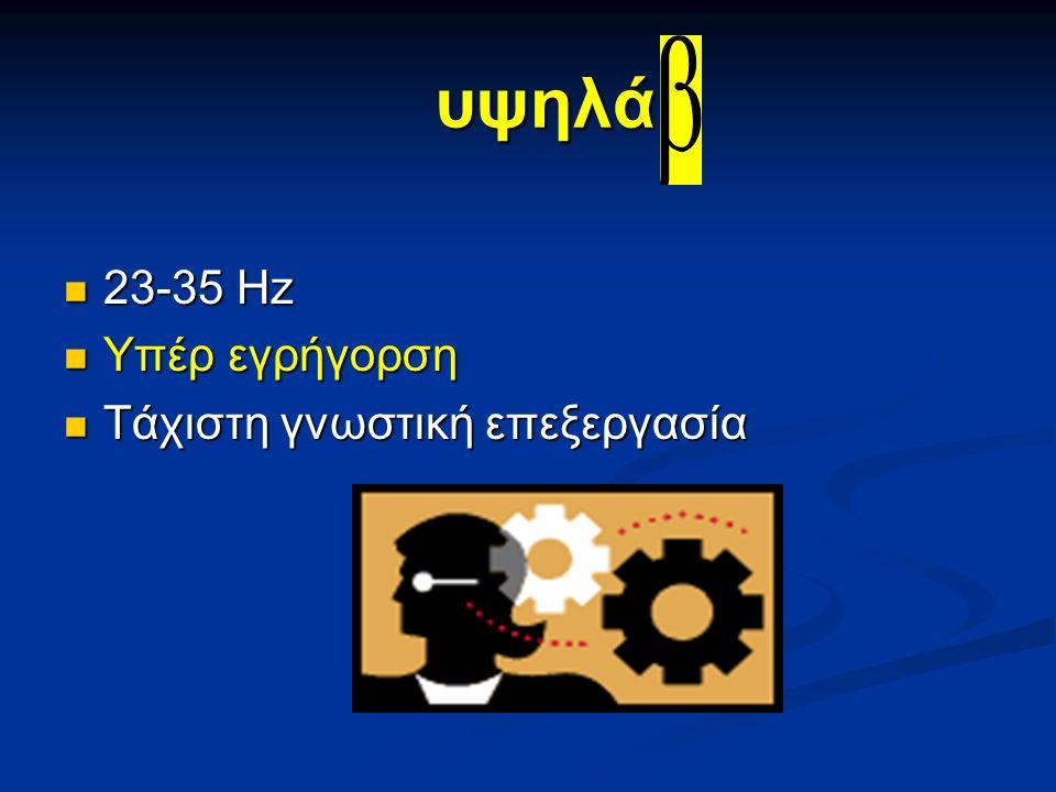 υψηλά 23-35 Hz 23-35 Hz Υπέρ εγρήγορση Υπέρ εγρήγορση Τάχιστη γνωστική επεξεργασία Τάχιστη γνωστική επεξεργασία