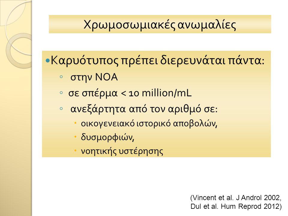 Χρωμοσωμιακές ανωμαλίες Kαρυότυπος πρέπει διερευνάται πάντα: ◦ στην ΝΟΑ ◦ σε σπέρμα < 10 million/mL ◦ ανεξάρτητα από τον αριθμό σε:  οικογενειακό ιστορικό αποβολών,  δυσμορφιών,  νοητικής υστέρησης (Vincent et al.