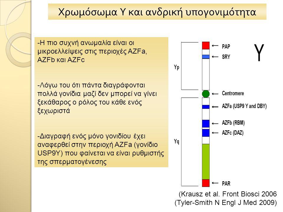 Χρωμόσωμα Υ και ανδρική υπογονιμότητα -Η πιο συχνή ανωμαλία είναι οι μικροελλείψεις στις περιοχές AZFa, AZFb και AZFc -Λόγω του ότι πάντα διαγράφονται πολλά γονίδια μαζί δεν μπορεί να γίνει ξεκάθαρος ο ρόλος του κάθε ενός ξεχωριστά -Διαγραφή ενός μόνο γονιδίου έχει αναφερθεί στην περιοχή AZFa (γονίδιο USP9Y) που φαίνεται να είναι ρυθμιστής της σπερματογένεσης (Krausz et al.