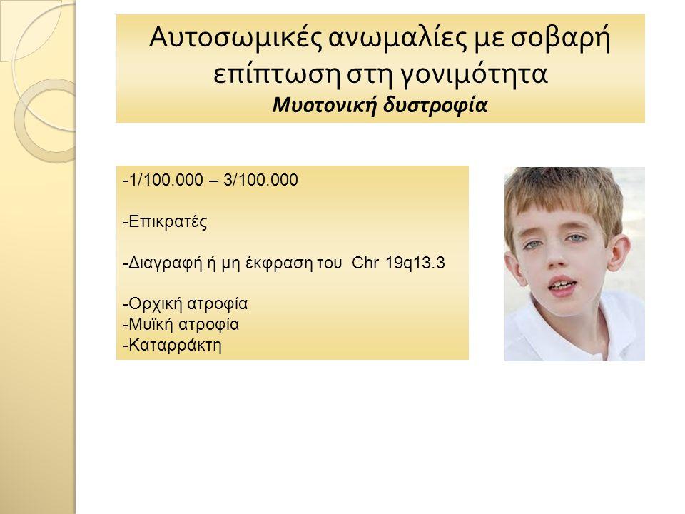 Αυτοσωμικές ανωμαλίες με σοβαρή επίπτωση στη γονιμότητα Μυοτονική δυστροφία -1/100.000 – 3/100.000 -Επικρατές -Διαγραφή ή μη έκφραση του Chr 19q13.3 -Ορχική ατροφία -Μυϊκή ατροφία -Καταρράκτη
