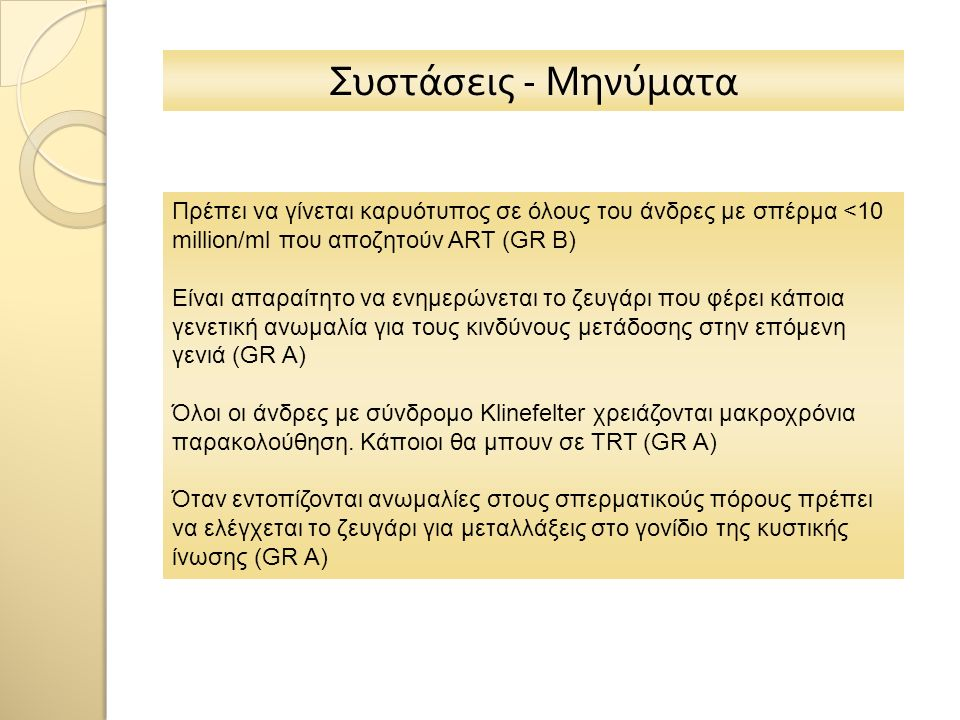 Συστάσεις - Μηνύματα Πρέπει να γίνεται καρυότυπος σε όλους του άνδρες με σπέρμα <10 million/ml που αποζητούν ART (GR B) Είναι απαραίτητο να ενημερώνετ