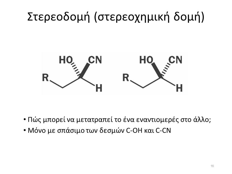 Στερεοδομή (στερεοχημική δομή) Πώς μπορεί να μετατραπεί το ένα εναντιομερές στο άλλο; Μόνο με σπάσιμο των δεσμών C-OH και C-CN 16