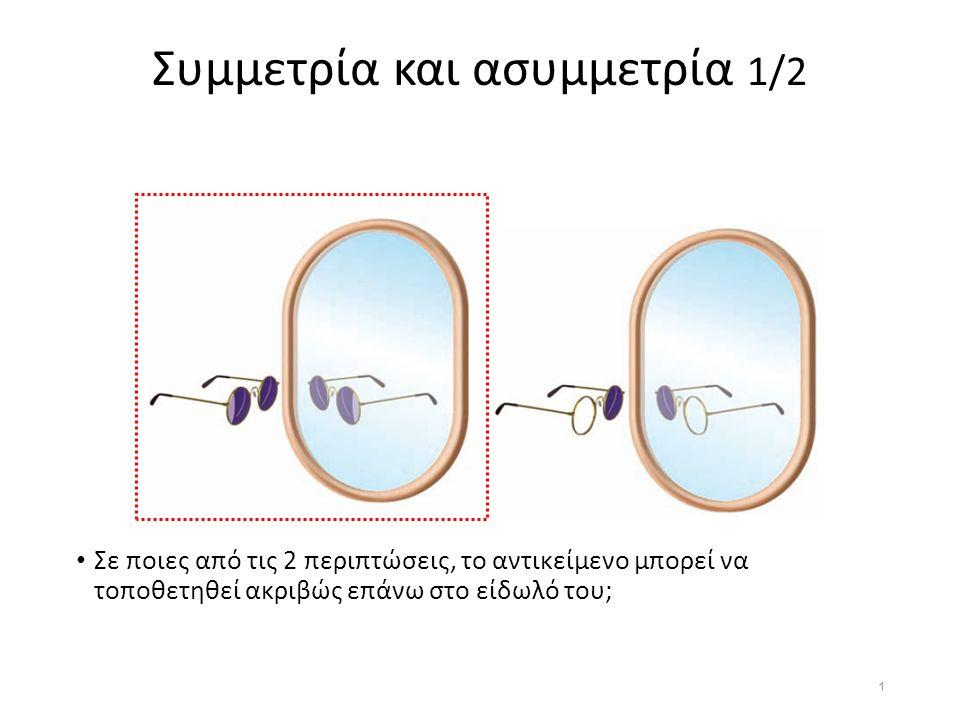 Συμμετρία και ασυμμετρία 1/2 Σε ποιες από τις 2 περιπτώσεις, το αντικείμενο μπορεί να τοποθετηθεί ακριβώς επάνω στο είδωλό του; 1