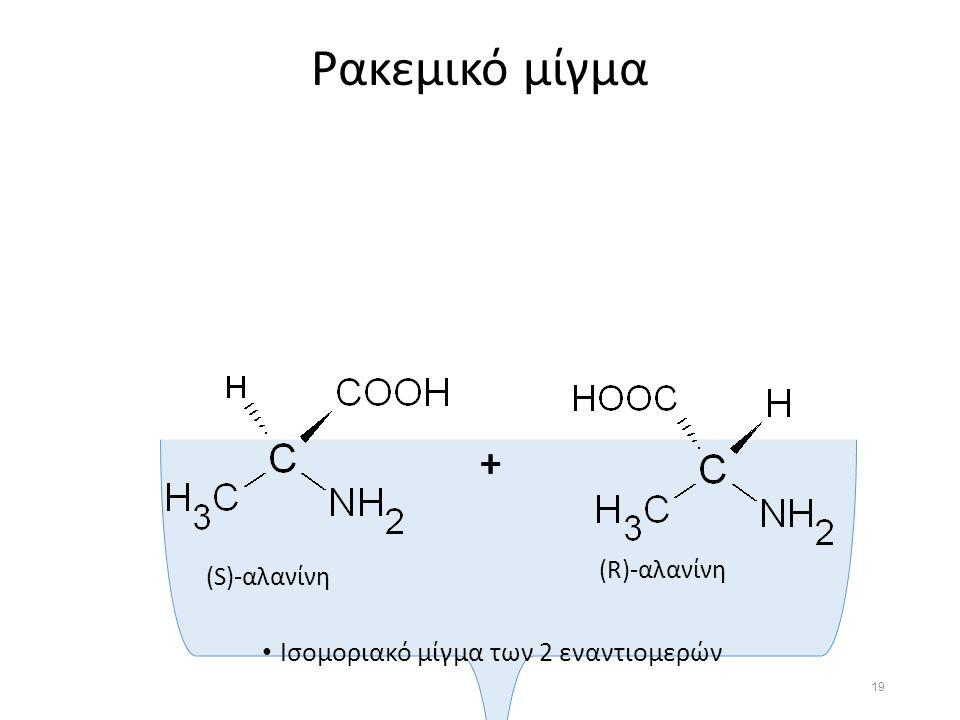 Ρακεμικό μίγμα Ισομοριακό μίγμα των 2 εναντιομερών (S)-αλανίνη (R)-αλανίνη + 19