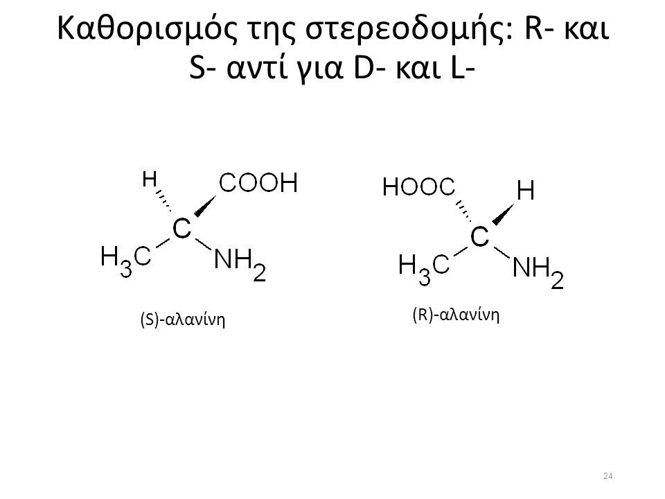 Καθορισμός της στερεοδομής: R- και S- αντί για D- και L- (S)-αλανίνη (R)-αλανίνη 24