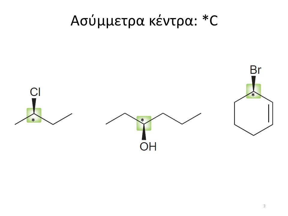 Διαστερεομέρια 3/4 2 ασύμμετροι άνθρακες 2 διαστερεο-ισομερή μεσο-μορφή: Επίπεδο συμμετρίας D-ερυθρόζη L-ερυθρόζη 14