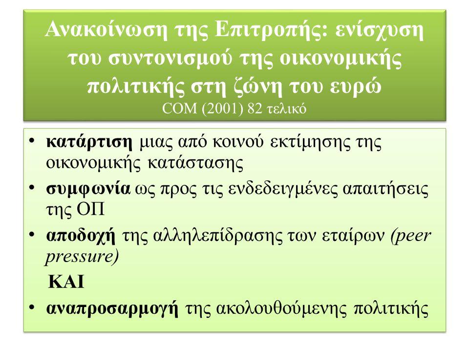 Ανακοίνωση της Επιτροπής: ενίσχυση του συντονισμού της οικονομικής πολιτικής στη ζώνη του ευρώ COM (2001) 82 τελικό κατάρτιση μιας από κοινού εκτίμηση