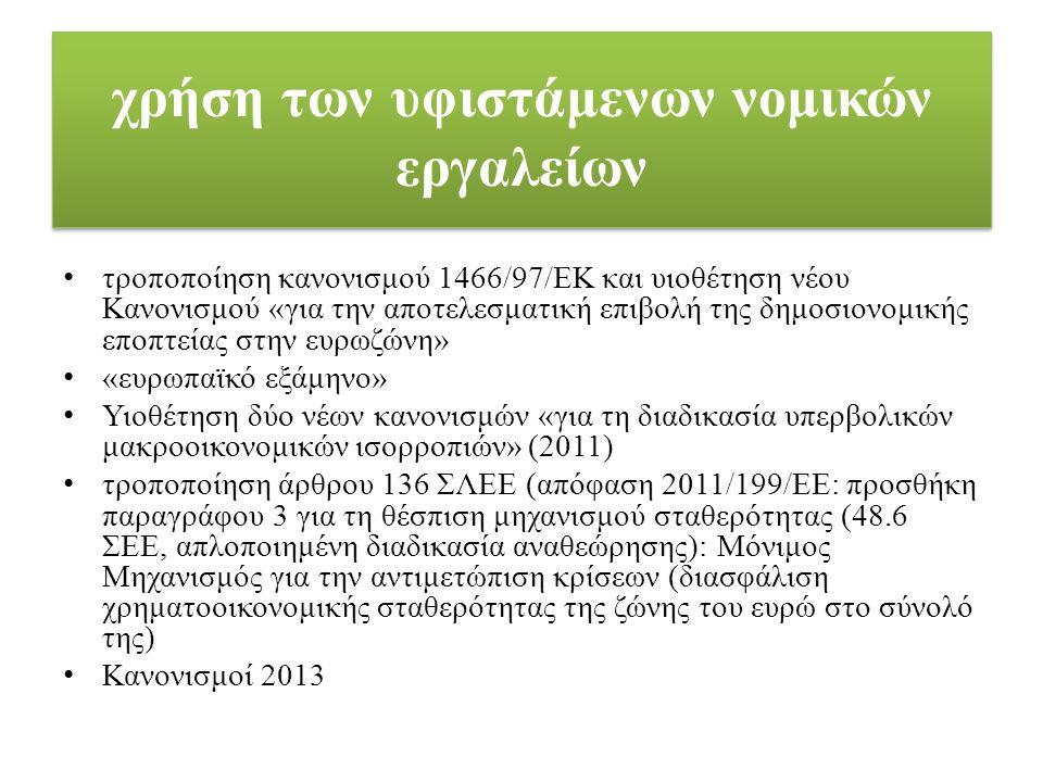 χρήση των υφιστάμενων νομικών εργαλείων τροποποίηση κανονισμού 1466/97/ΕΚ και υιοθέτηση νέου Κανονισμού «για την αποτελεσματική επιβολή της δημοσιονομικής εποπτείας στην ευρωζώνη» «ευρωπαϊκό εξάμηνο» Υιοθέτηση δύο νέων κανονισμών «για τη διαδικασία υπερβολικών μακροοικονομικών ισορροπιών» (2011) τροποποίηση άρθρου 136 ΣΛΕΕ (απόφαση 2011/199/ΕΕ: προσθήκη παραγράφου 3 για τη θέσπιση μηχανισμού σταθερότητας (48.6 ΣΕΕ, απλοποιημένη διαδικασία αναθεώρησης): Μόνιμος Μηχανισμός για την αντιμετώπιση κρίσεων (διασφάλιση χρηματοοικονομικής σταθερότητας της ζώνης του ευρώ στο σύνολό της) Κανονισμοί 2013
