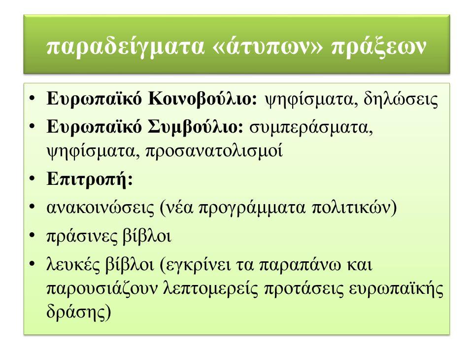 παραδείγματα «άτυπων» πράξεων Ευρωπαϊκό Κοινοβούλιο: ψηφίσματα, δηλώσεις Ευρωπαϊκό Συμβούλιο: συμπεράσματα, ψηφίσματα, προσανατολισμοί Επιτροπή: ανακοινώσεις (νέα προγράμματα πολιτικών) πράσινες βίβλοι λευκές βίβλοι (εγκρίνει τα παραπάνω και παρουσιάζουν λεπτομερείς προτάσεις ευρωπαϊκής δράσης) Ευρωπαϊκό Κοινοβούλιο: ψηφίσματα, δηλώσεις Ευρωπαϊκό Συμβούλιο: συμπεράσματα, ψηφίσματα, προσανατολισμοί Επιτροπή: ανακοινώσεις (νέα προγράμματα πολιτικών) πράσινες βίβλοι λευκές βίβλοι (εγκρίνει τα παραπάνω και παρουσιάζουν λεπτομερείς προτάσεις ευρωπαϊκής δράσης)