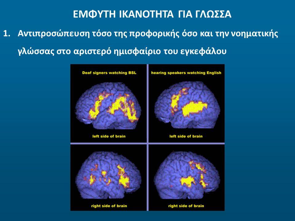 ΕΜΦΥΤΗ ΙΚΑΝΟΤΗΤΑ ΓΙΑ ΓΛΩΣΣΑ 1. 1.Αντιπροσώπευση τόσο της προφορικής όσο και την νοηματικής γλώσσας στο αριστερό ημισφαίριο του εγκεφάλου