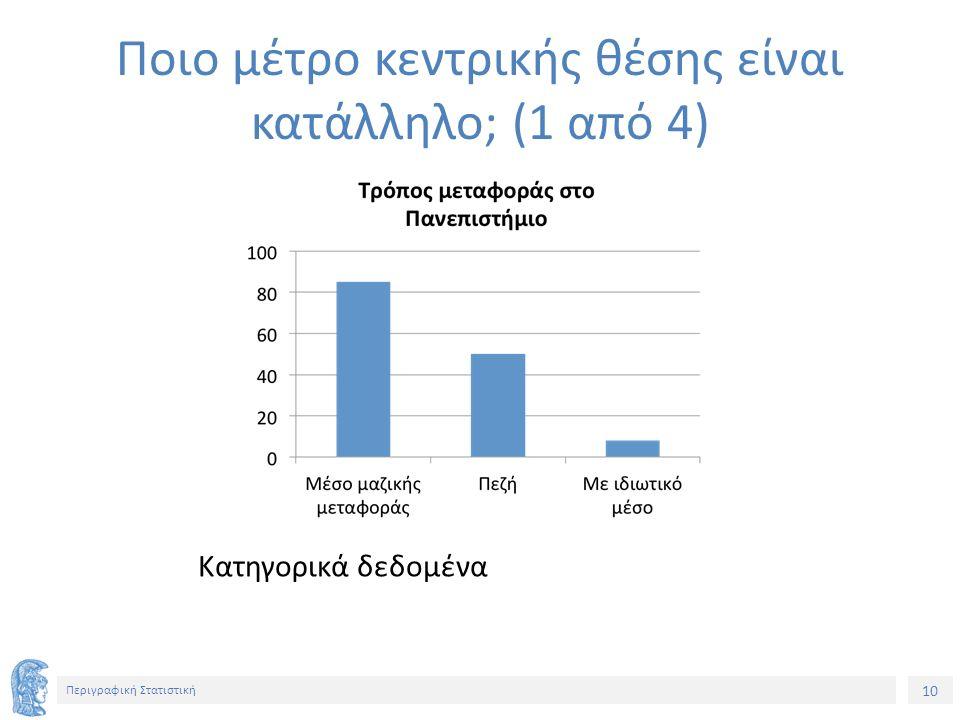 10 Περιγραφική Στατιστική Κατηγορικά δεδομένα Ποιο μέτρο κεντρικής θέσης είναι κατάλληλο; (1 από 4)