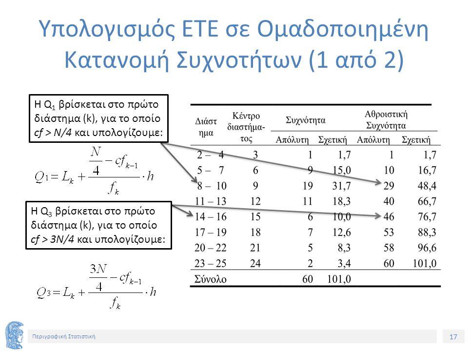 17 Περιγραφική Στατιστική Υπολογισμός ΕΤΕ σε Ομαδοποιημένη Κατανομή Συχνοτήτων (1 από 2) Η Q 1 βρίσκεται στο πρώτο διάστημα (k), για το οποίο cf > Ν/4