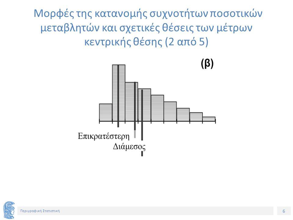 17 Περιγραφική Στατιστική Υπολογισμός ΕΤΕ σε Ομαδοποιημένη Κατανομή Συχνοτήτων (1 από 2) Η Q 1 βρίσκεται στο πρώτο διάστημα (k), για το οποίο cf > Ν/4 και υπολογίζουμε: Η Q 3 βρίσκεται στο πρώτο διάστημα (k), για το οποίο cf > 3Ν/4 και υπολογίζουμε: