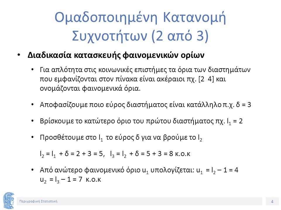 5 Περιγραφική Στατιστική Ομαδοποιημένη Κατανομή Συχνοτήτων (3 από 3) Το κέντρο κ 1 του διαστήματος [l 1 u 1 ] = [2 4] υπολογίζεται : κ 1 = (l 1 + u 1 ) / 2 = (2 + 4) / 2 = 3 κ.ο.κ Επειδή διευκολύνει στις πράξεις να είναι ακέραιοι τα κέντρα των διαστημάτων επιλέγουμε ως εύρος του διαστήματος περιττό αριθμό.