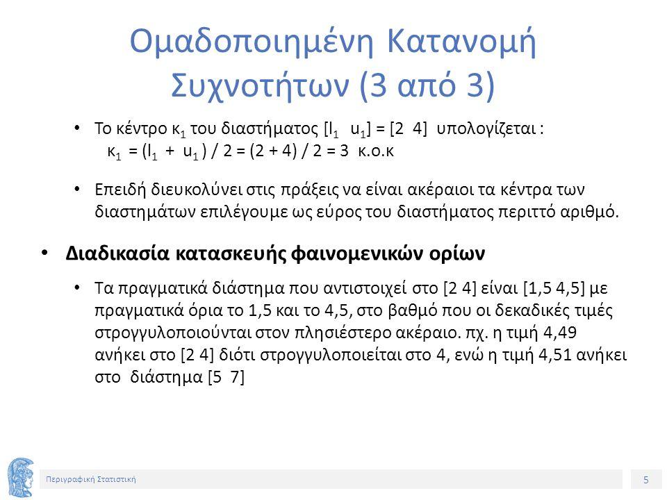 26 Περιγραφική Στατιστική Διάμεσος Ομαδοποιημένης Κατανομής Συχνοτήτων Εντοπίζουμε το πρώτο διάστημα (k), ξεκινώντας από το πρώτο, για το οποίο cf > Ν/2 και υπολογίζουμε: L k Κατ.