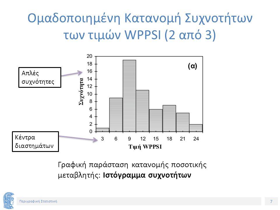 8 Περιγραφική Στατιστική Απλές συχνότητες Κέντρα διαστημάτων Γραφική παράσταση κατανομής ποσοτικής μεταβλητής: Πολύγωνο συχνοτήτων Ομαδοποιημένη Κατανομή Συχνοτήτων των τιμών WPPSI (3 από 3)