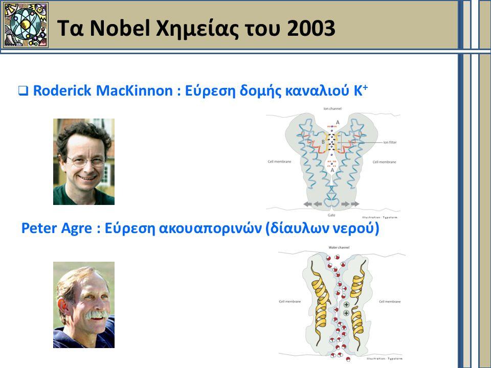 Τα Nobel Χημείας του 2003  Roderick MacKinnon : Εύρεση δομής καναλιού Κ + Peter Agre : Εύρεση ακουαπορινών (δίαυλων νερού)