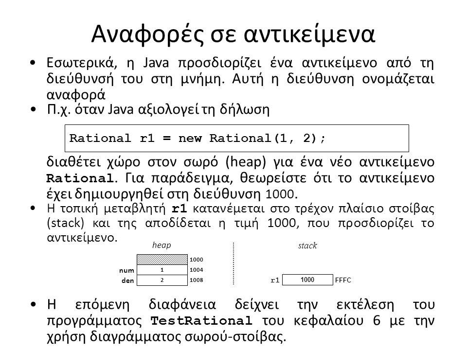 Αναφορές σε αντικείμενα Εσωτερικά, η Java προσδιορίζει ένα αντικείμενο από τη διεύθυνσή του στη μνήμη.