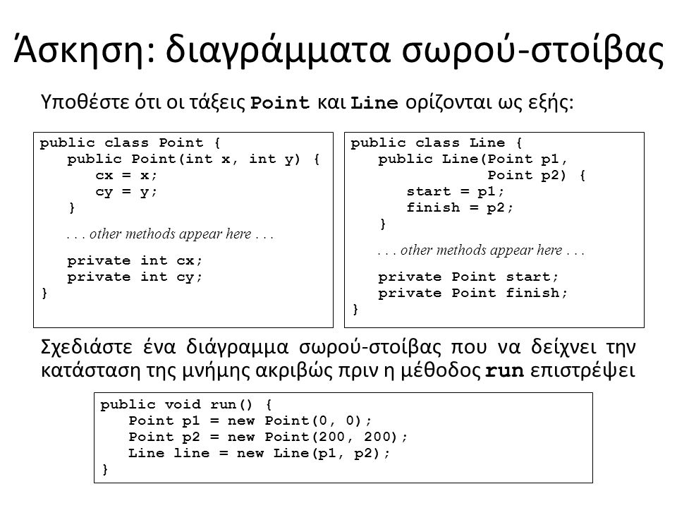 Άσκηση: διαγράμματα σωρού-στοίβας public void run() { Point p1 = new Point(0, 0); Point p2 = new Point(200, 200); Line line = new Line(p1, p2); } public class Point { public Point(int x, int y) { cx = x; cy = y; }...