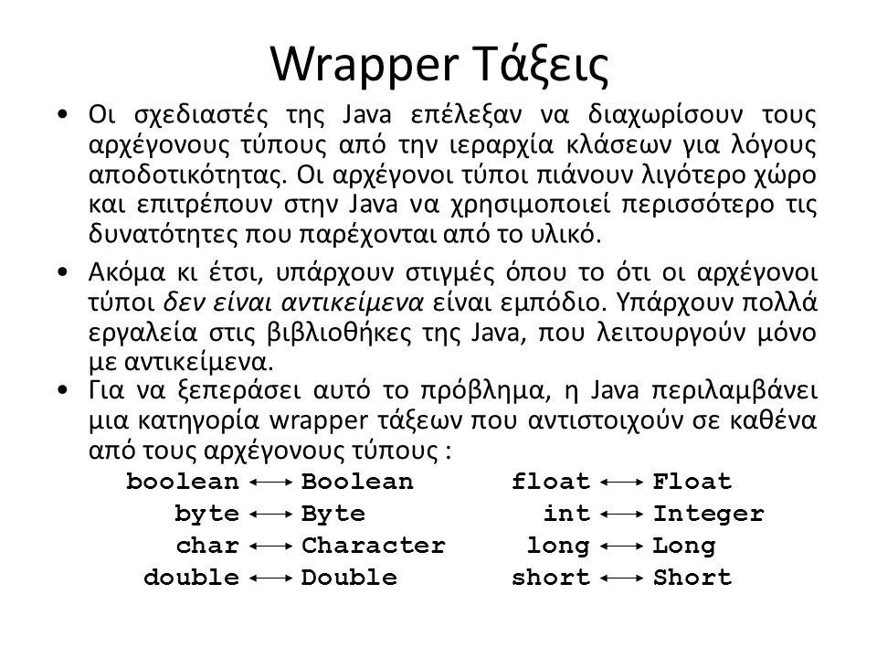 Wrapper Τάξεις Οι σχεδιαστές της Java επέλεξαν να διαχωρίσουν τους αρχέγονους τύπους από την ιεραρχία κλάσεων για λόγους αποδοτικότητας. Οι αρχέγονοι