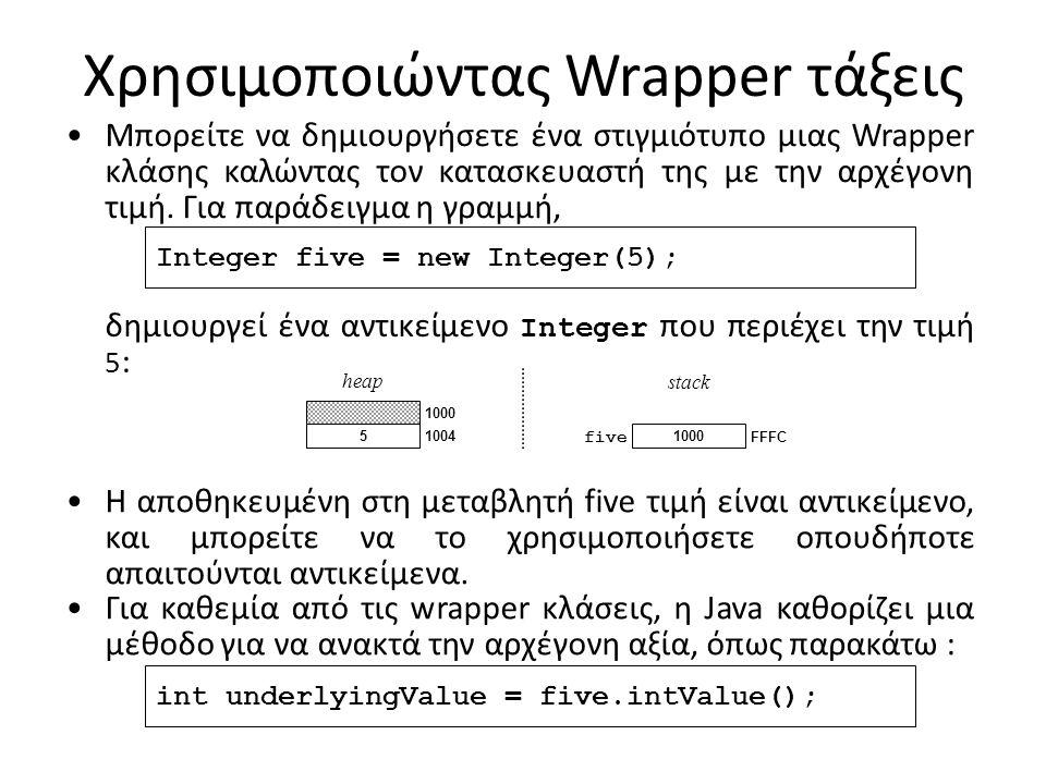 Χρησιμοποιώντας Wrapper τάξεις Μπορείτε να δημιουργήσετε ένα στιγμιότυπο μιας Wrapper κλάσης καλώντας τον κατασκευαστή της με την αρχέγονη τιμή. Για π