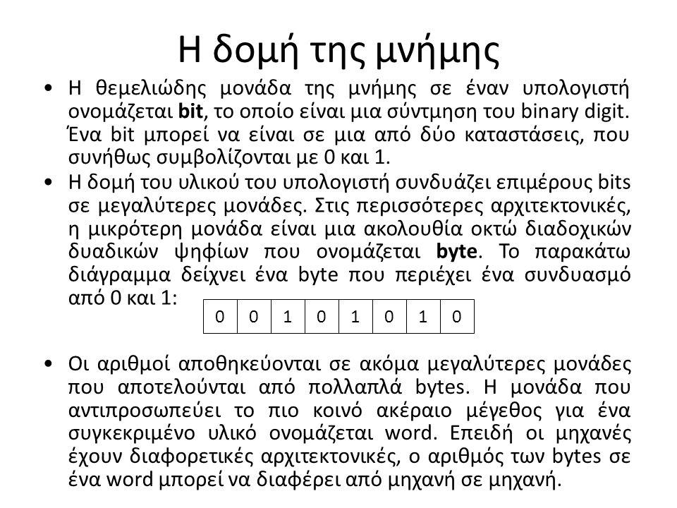 Η δομή της μνήμης Η θεμελιώδης μονάδα της μνήμης σε έναν υπολογιστή ονομάζεται bit, το οποίο είναι μια σύντμηση του binary digit. Ένα bit μπορεί να εί