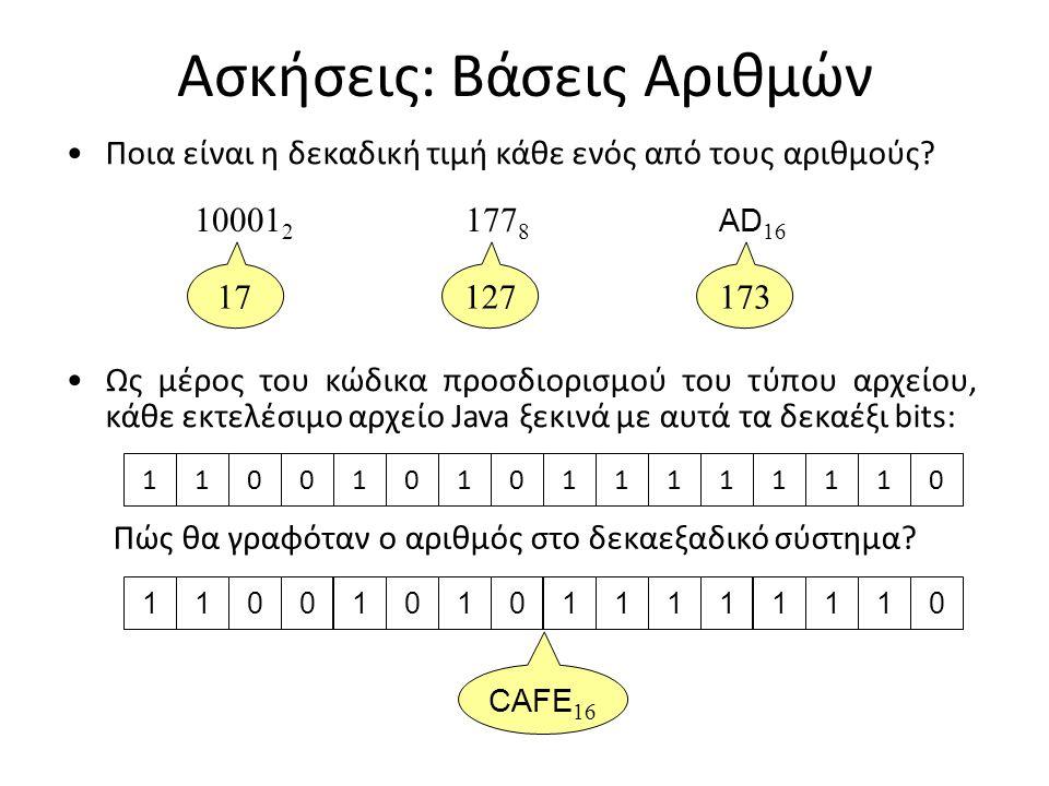 Ασκήσεις: Βάσεις Αριθμών Ποια είναι η δεκαδική τιμή κάθε ενός από τους αριθμούς? 10001 2 177 8 AD 16 1 x = 1 1 0 x = 0 2 = 0 4 = 0 8 1 x = 1 16 10001