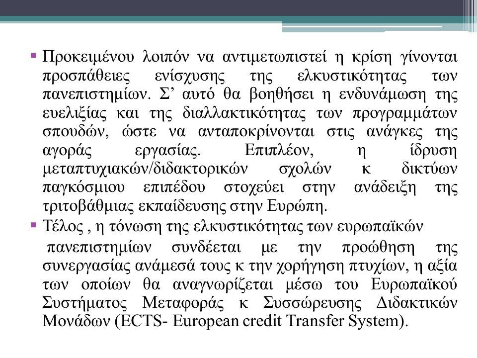  Προκειμένου λοιπόν να γίνουν αλλαγές και να ενισχυθούν τα ευρωπαϊκά πανεπιστήμια απαιτείται χρηματοδοτική ενίσχυση από το κράτος.