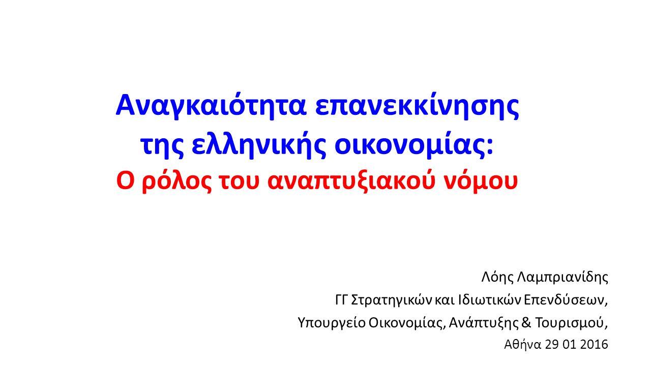Αναγκαιότητα επανεκκίνησης της ελληνικής οικονομίας: Ο ρόλος του αναπτυξιακού νόμου Λόης Λαμπριανίδης ΓΓ Στρατηγικών και Ιδιωτικών Επενδύσεων, Υπουργε