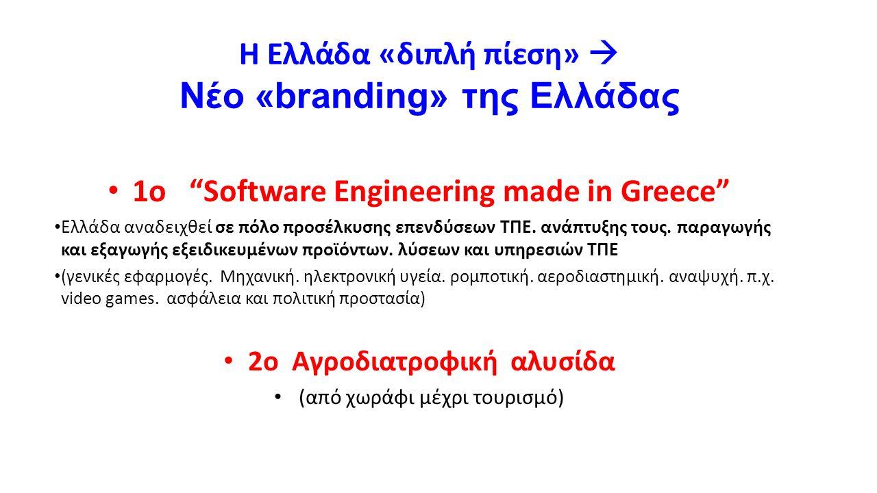 """Η Ελλάδα «διπλή πίεση»  Νέο «branding» της Ελλάδας 1o """"Software Engineering made in Greece"""" Ελλάδα αναδειχθεί σε πόλο προσέλκυσης επενδύσεων ΤΠΕ. ανά"""