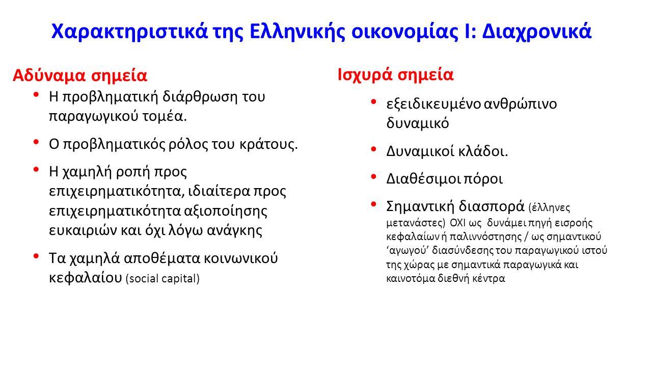 Χαρακτηριστικά της Ελληνικής οικονομίας Ι: Διαχρονικά Αδύναμα σημεία Η προβληματική διάρθρωση του παραγωγικού τομέα. Ο προβληματικός ρόλος του κράτους