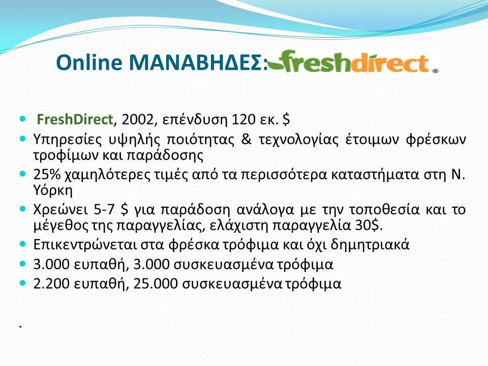 Online ΜΑΝΑΒΗΔΕΣ: FreshDirect, 2002, επένδυση 120 εκ. $ Υπηρεσίες υψηλής ποιότητας & τεχνολογίας έτοιμων φρέσκων τροφίμων και παράδοσης 25% χαμηλότερε