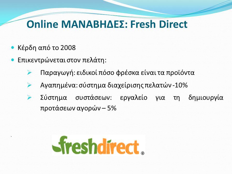 Online ΜΑΝΑΒΗΔΕΣ: Fresh Direct Κέρδη από το 2008 Επικεντρώνεται στον πελάτη:  Παραγωγή: ειδικοί πόσο φρέσκα είναι τα προϊόντα  Αγαπημένα: σύστημα δι