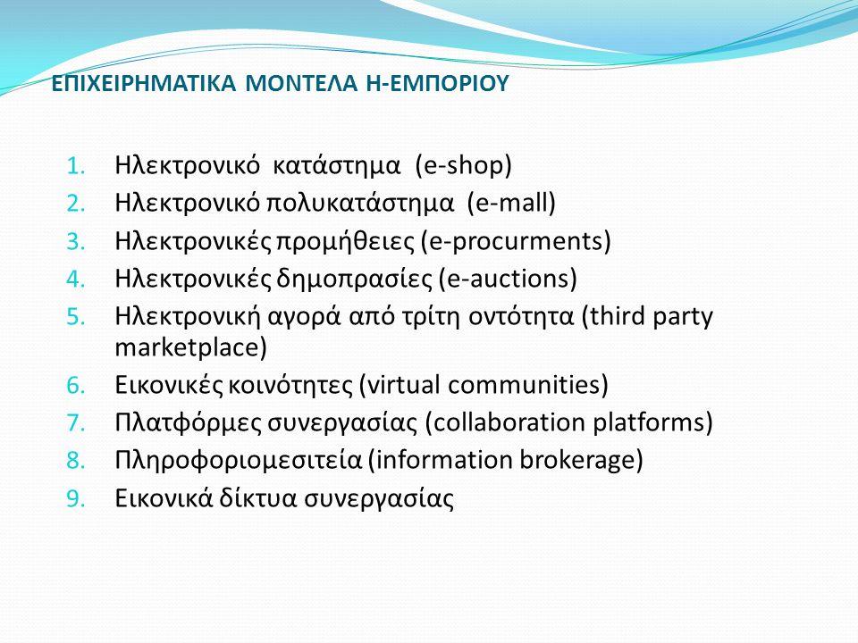 ΕΠΙΧΕΙΡΗΜΑΤΙΚΑ ΜΟΝΤΕΛΑ Η-ΕΜΠΟΡΙΟΥ 1. Ηλεκτρονικό κατάστημα (e-shop) 2. Ηλεκτρονικό πολυκατάστημα (e-mall) 3. Ηλεκτρονικές προμήθειες (e-procurments) 4