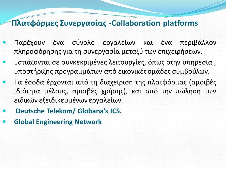Πλατφόρμες Συνεργασίας -Collaboration platforms Παρέχουν ένα σύνολο εργαλείων και ένα περιβάλλον πληροφόρησης για τη συνεργασία μεταξύ των επιχειρήσεω