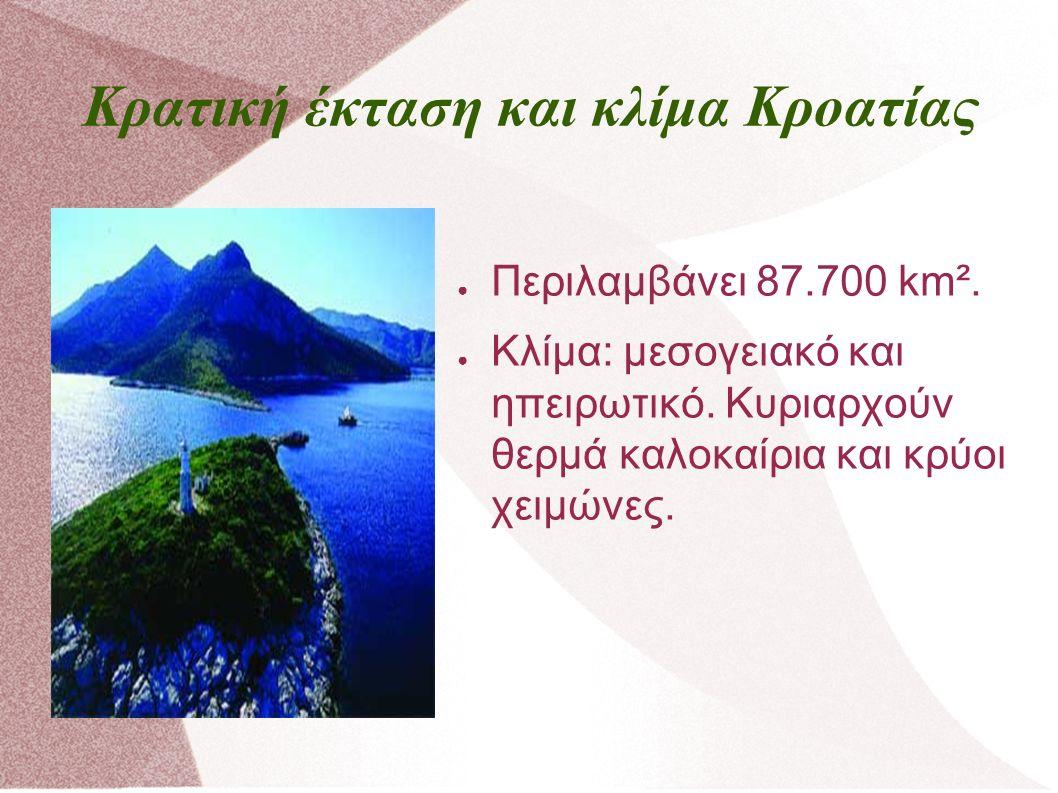 Κρατική έκταση και κλίμα Κροατίας ● Περιλαμβάνει 87.700 km².