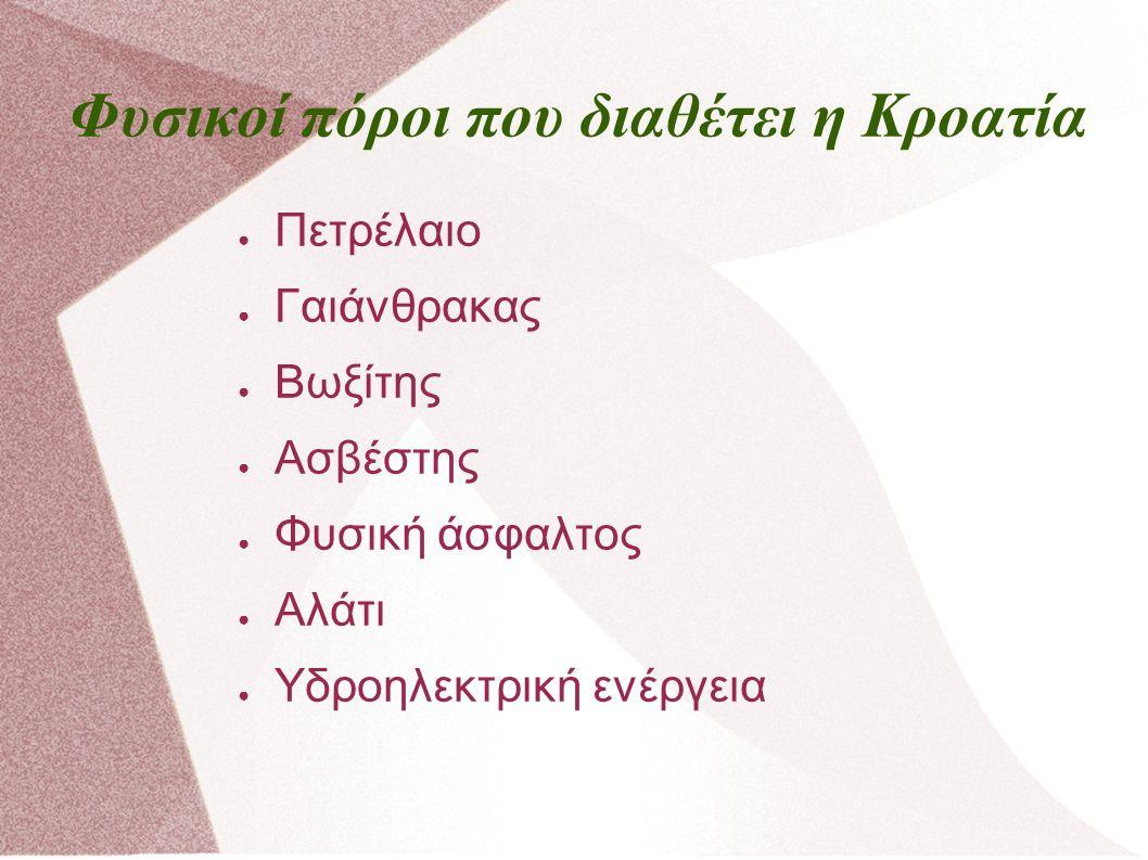 Φυσικοί πόροι που διαθέτει η Κροατία ● Πετρέλαιο ● Γαιάνθρακας ● Βωξίτης ● Ασβέστης ● Φυσική άσφαλτος ● Αλάτι ● Υδροηλεκτρική ενέργεια