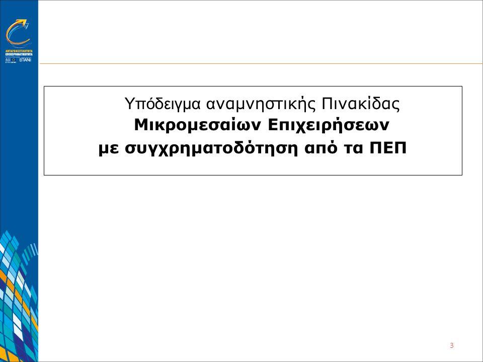 3 Υπόδειγμα α ναμνηστικής Πινακίδας Μικρομεσαίων Επιχειρήσεων με συγχρηματοδότηση από τα ΠΕΠ
