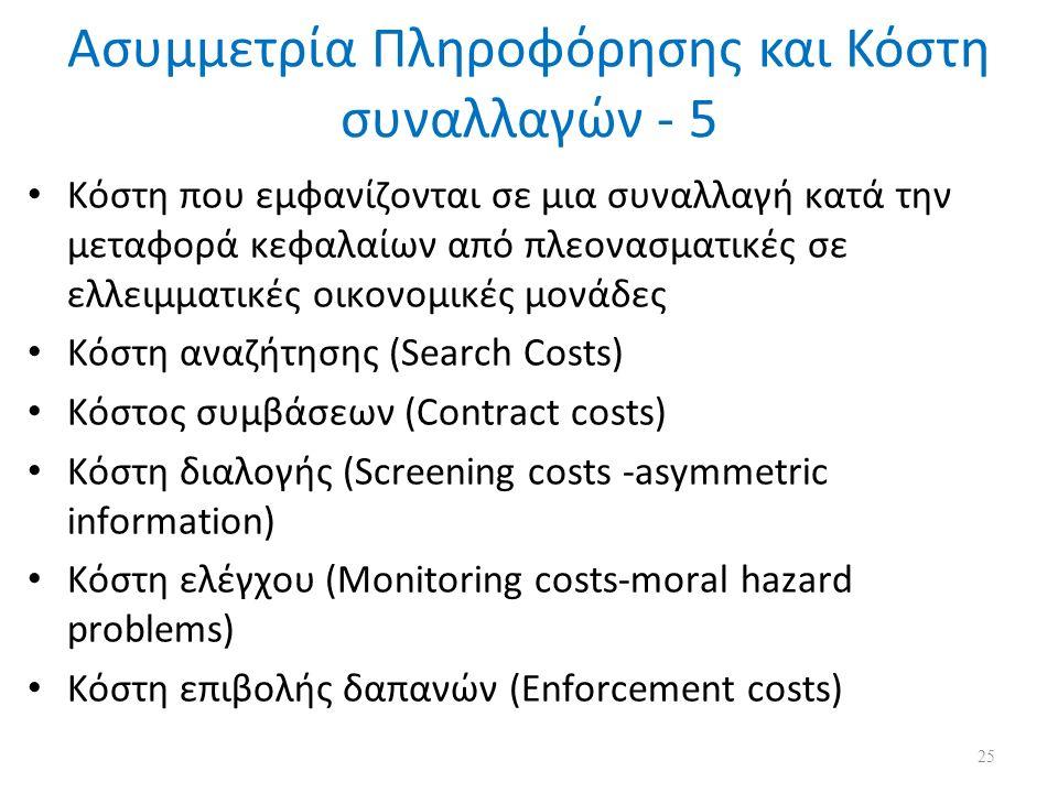Ασυμμετρία Πληροφόρησης και Κόστη συναλλαγών - 5 Κόστη που εμφανίζονται σε μια συναλλαγή κατά την μεταφορά κεφαλαίων από πλεονασματικές σε ελλειμματικές οικονομικές μονάδες Κόστη αναζήτησης (Search Costs) Κόστος συμβάσεων (Contract costs) Κόστη διαλογής (Screening costs -asymmetric information) Κόστη ελέγχου (Monitoring costs-moral hazard problems) Κόστη επιβολής δαπανών (Enforcement costs) 25