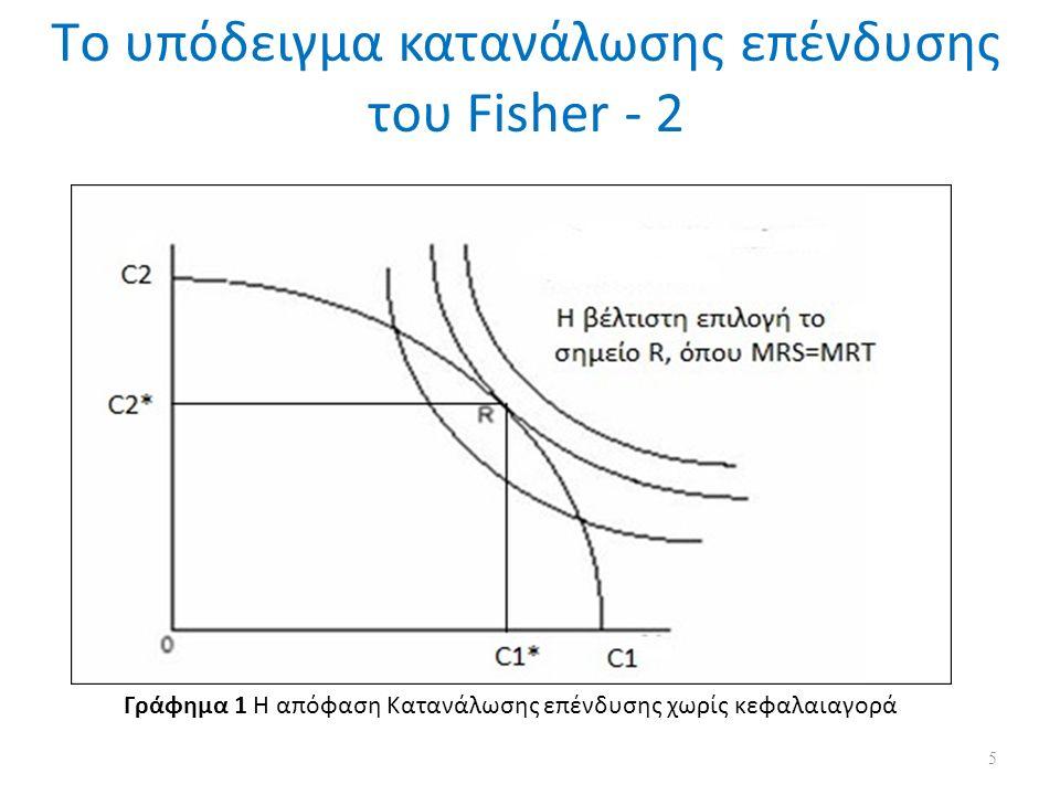Προχωρώντας την ανάλυση κάνοντας χρήση του υποδείγματος κατανάλωσης – επένδυσης του Fisher, εισάγουμε την έννοια της κεφαλαιαγοράς Αν υποθέσουμε ότι το εισόδημα της οικονομικής μονάδας είναι (Υ1,Υ2) στις δύο αυτές χρονικές περιόδους, ενώ η κατανάλωση (C1,C2) αντίστοιχα.