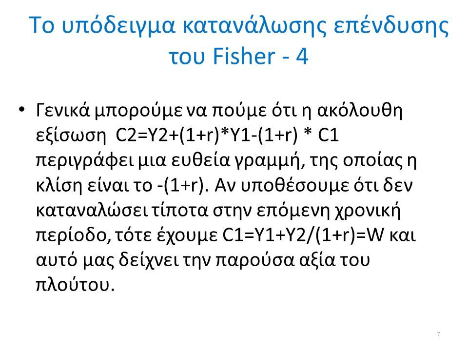Το υπόδειγμα κατανάλωσης επένδυσης του Fisher λαμβάνοντας υπόψη τις ατέλειες των κεφαλαιαγορών - 2 Με ύπαρξη ενός χρηματοπιστωτικού οργανισμού μικρότερα και C.