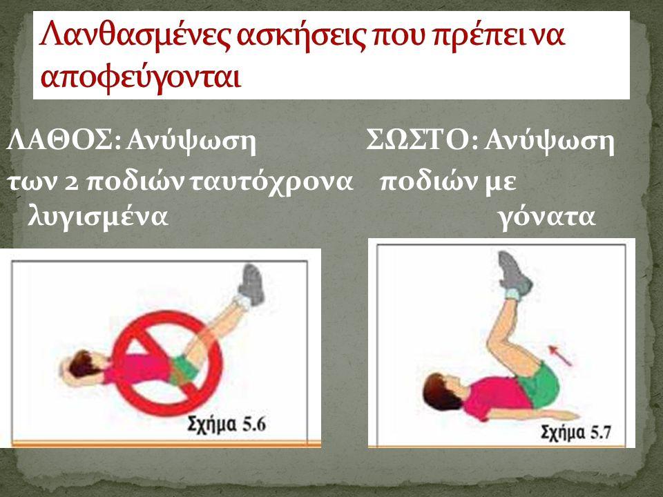 ΛΑΘΟΣ: Ανύψωση ΣΩΣΤΟ: Ανύψωση των 2 ποδιών ταυτόχρονα ποδιών με λυγισμένα γόνατα
