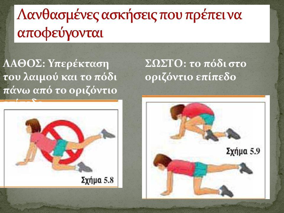 ΛΑΘΟΣ: Υπερέκταση του λαιμού και το πόδι πάνω από το οριζόντιο επίπεδο ΣΩΣΤΟ: το πόδι στο οριζόντιο επίπεδο