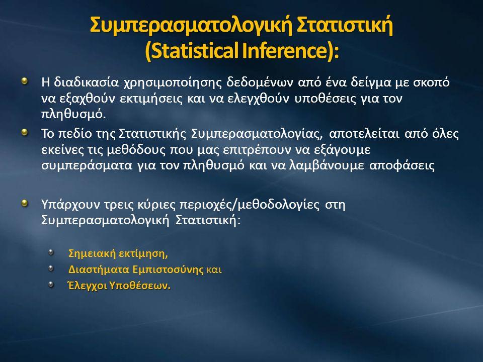 Συμπερασματολογική Στατιστική (Statistical Inference): Η διαδικασία χρησιμοποίησης δεδομένων από ένα δείγμα με σκοπό να εξαχθούν εκτιμήσεις και να ελεγχθούν υποθέσεις για τον πληθυσμό.