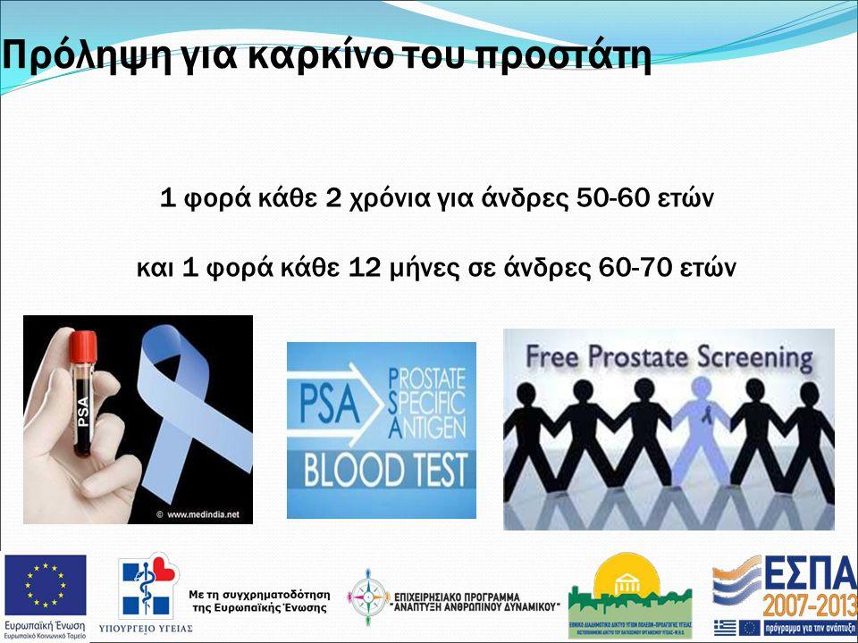 Πρόληψη για καρκίνο του προστάτη 1 φορά κάθε 2 χρόνια για άνδρες 50-60 ετών και 1 φορά κάθε 12 μήνες σε άνδρες 60-70 ετών