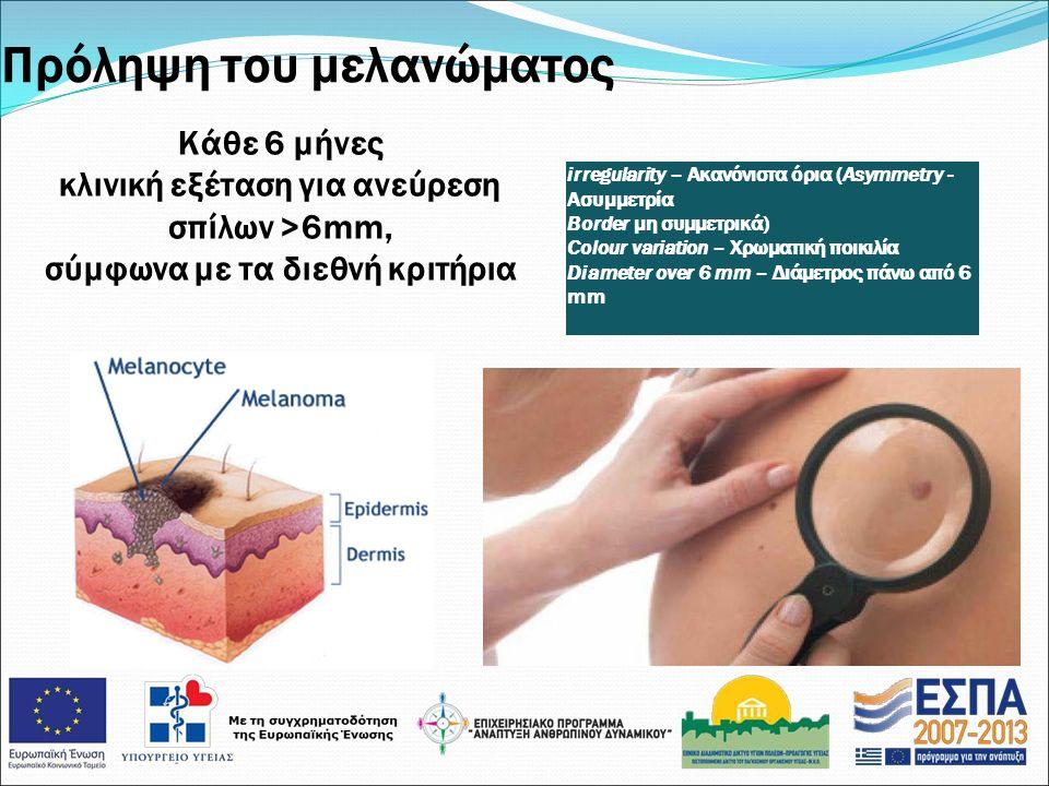 Πρόληψη του μελανώματος Κάθε 6 μήνες κλινική εξέταση για ανεύρεση σπίλων >6mm, σύμφωνα με τα διεθνή κριτήρια irregularity – Ακανόνιστα όρια (Asymmetry - Ασυμμετρία Border μη συμμετρικά) Colour variation – Χρωματική ποικιλία Diameter over 6 mm – Διάμετρος πάνω από 6 mm
