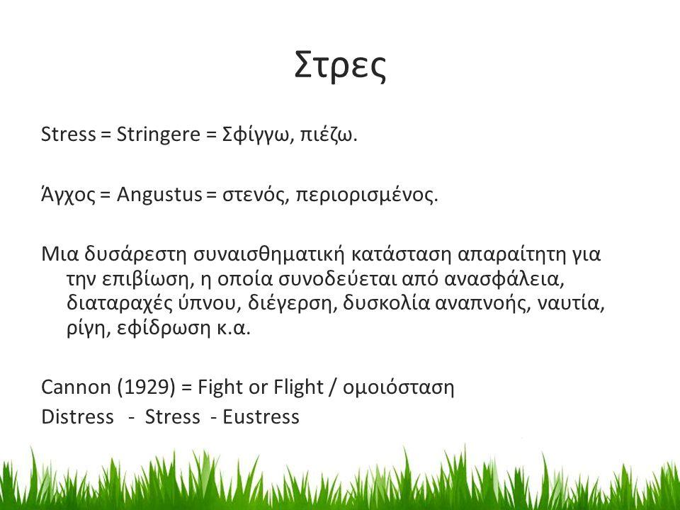 Στρες Stress = Stringere = Σφίγγω, πιέζω. Άγχος = Angustus = στενός, περιορισμένος. Μια δυσάρεστη συναισθηματική κατάσταση απαραίτητη για την επιβίωση
