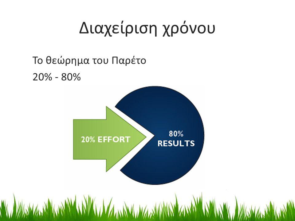 Διαχείριση χρόνου Το θεώρημα του Παρέτο 20% - 80%